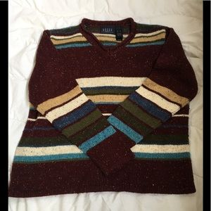 Women's XL Burgundy and Tan Sweater